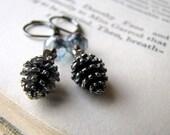 Pine Mist Blue, Pewter Pinecone Earrings