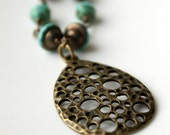 Turquoise Beaded Necklace, Antiqued Brass Chain, Brass Pendant, Lunar, Moon, Jewelry