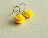 SALE, Lemon Yellow Flower Earrings, Rose, Spring, Romantic Garden, Bright Yellow, Wedding,