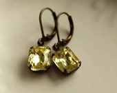 Yellow Vintage Jewel Earrings, Jonquil Petites, Pale Yellow, Daffodil, Old Hollywood Glam,  Glamour