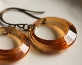 Retro Hoop Earrings, Topaz Brown, Golden Amber Hoop, Vintage Hoops, Autumn Brown Hoop Earring