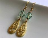 Teardrop Dangle Earrings, Gold Plated, Green Mist Glass