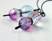 Purple Mist, Violet and Blue, Dangle Earrings, Antiqued Brass Earrings, Pale, Purple and Blue