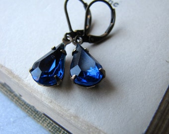 Sapphire Blue Rhinestone Earrings, Estate Style Earrings Old Hollywood Glam 1950s Deep Blue Vintage Jewel Earrings Drop Earrings