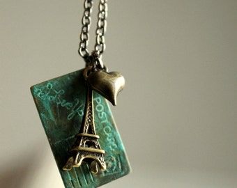 Eiffel Tower Necklace Postcard from Paris Charm Necklace Valentine Necklace Heart I Love You Valentine Jewelry Love Letter
