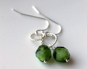 Olive Green, Sterling Silver Earrings, Dangle Earrings, Summer, Modern