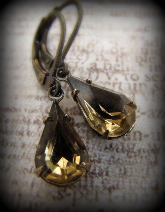 Reserved - Glam Allure - Light Smokey Topaz - Vintage Jewel Earrings
