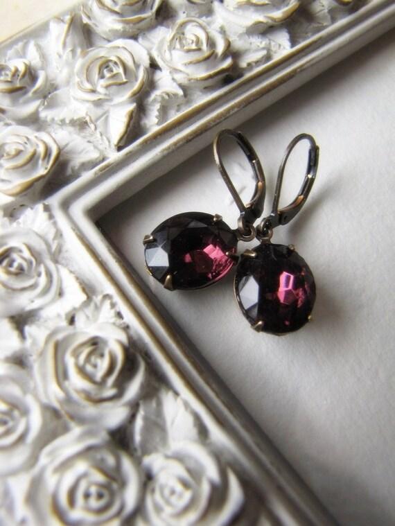 Amethyst Glass Earrings, Vintage Earrings, Old Hollywood, Estate Style Jewelry, Jewellery, Deep Amethyst