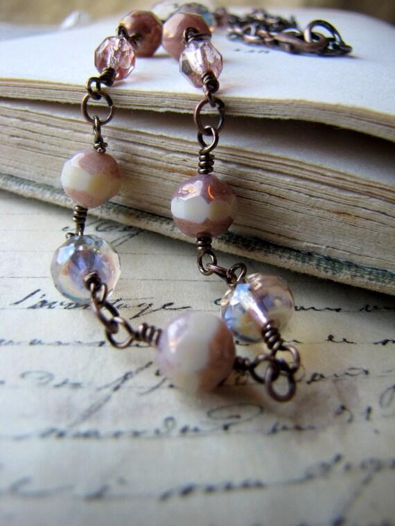 Pink Copper Lustre Necklace, Dune Series, Antiqued Copper