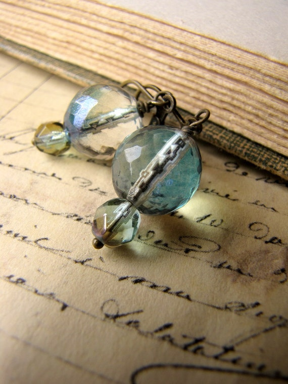 Hopeless Romantic Collection, Seafoam Green, Antiqued Brass Earrings