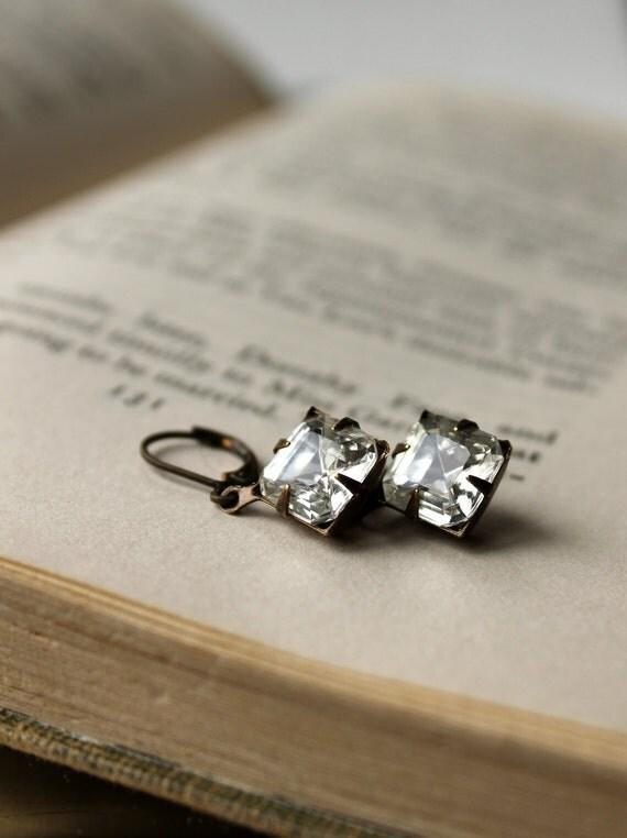 Vintage Glass Jewel Earrings, Dangle Earrings, Hollywood Glam Allure, Diamond Moonlight