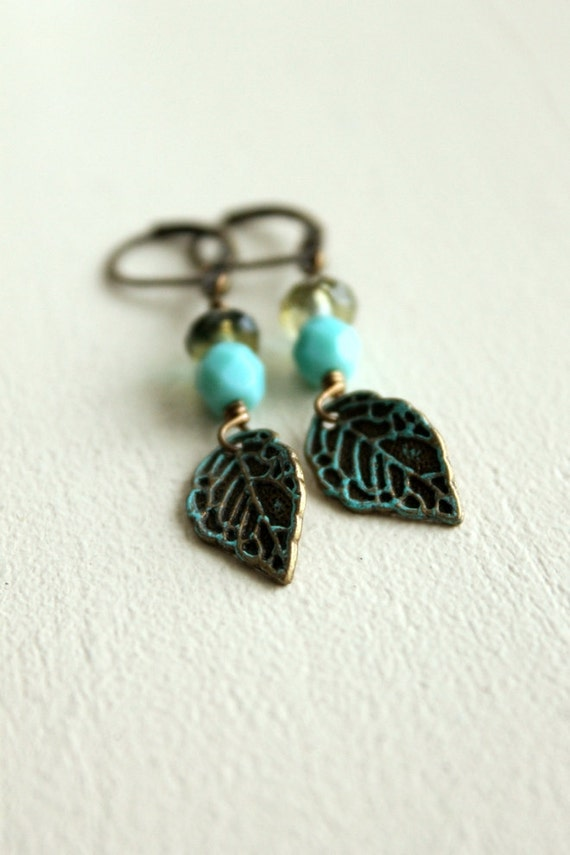 SALE, Save 46%, Leaf Earrings, Woodland, Antiqued Brass, Turquoise, Leverback, Nature, Earthy