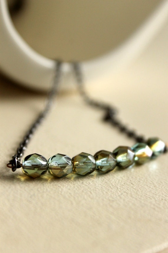 Beaded Necklace, Aqua Blue and Gold Highlights, Modern Necklace, Gunmetal Chain, Simplistic, Elegant