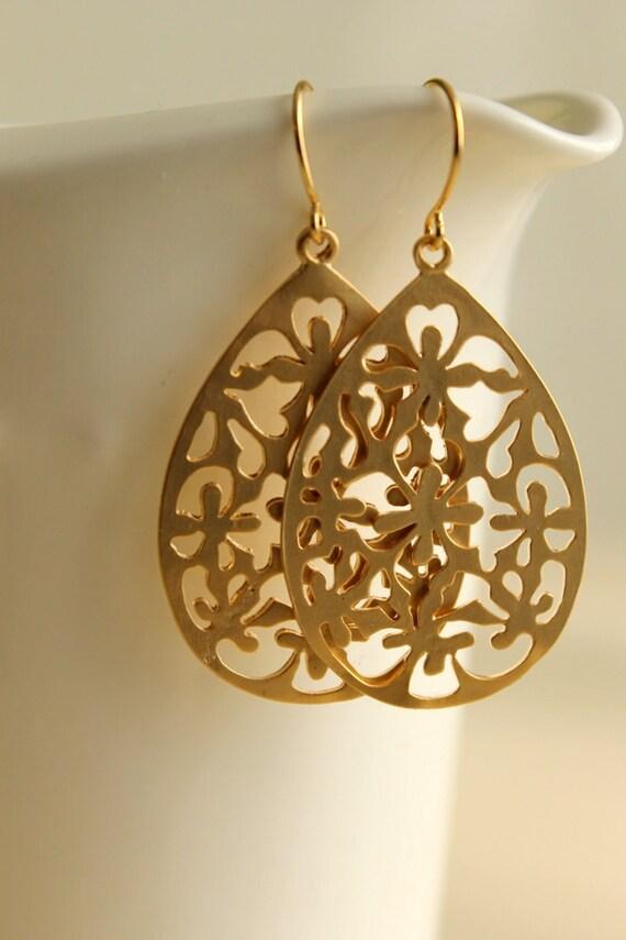 Lacey Dangle Earrings, Gold Earrings, Lacey, Floral, Pendant, Bohemian, Boho Chic, Delicate, Elegant