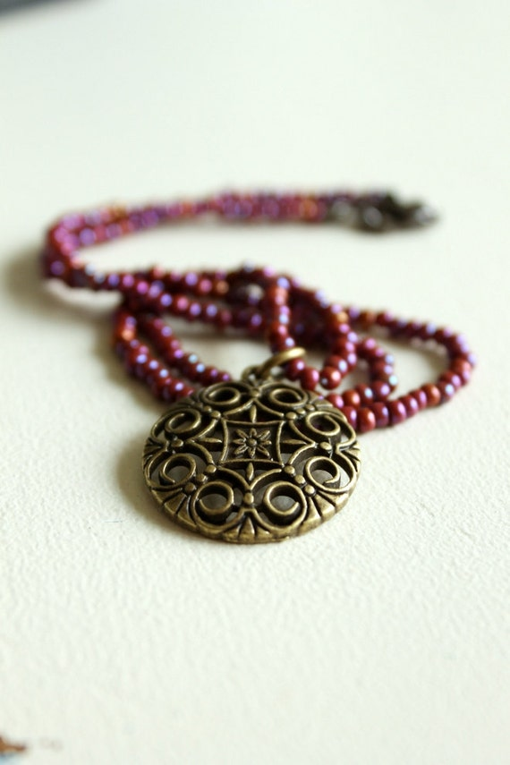 Bohemian Necklace, Brass Pendant, Boho Chic, Purple Plum