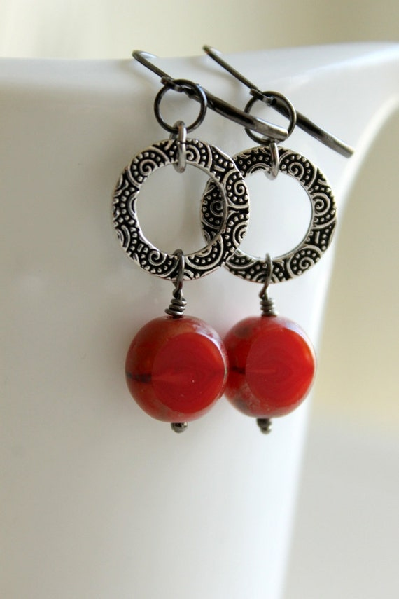 Southwestern Earrings, Cayenne Pepper Red, Dangle Earrings, Antiqued Silver Ring, Red Glass Bead, Salsa, Spice