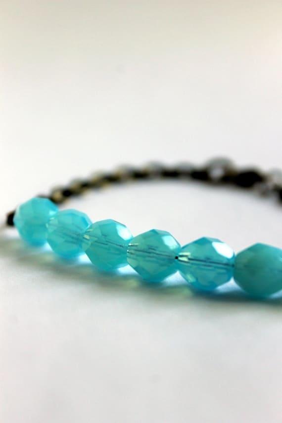 Sky Blue Bracelet, Summer Blue, Brass Chain, Simple, Color Pop