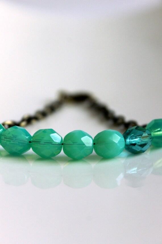 Seafoam Green Bracelet, Antiqued Brass Chain, Simple, Color Pop
