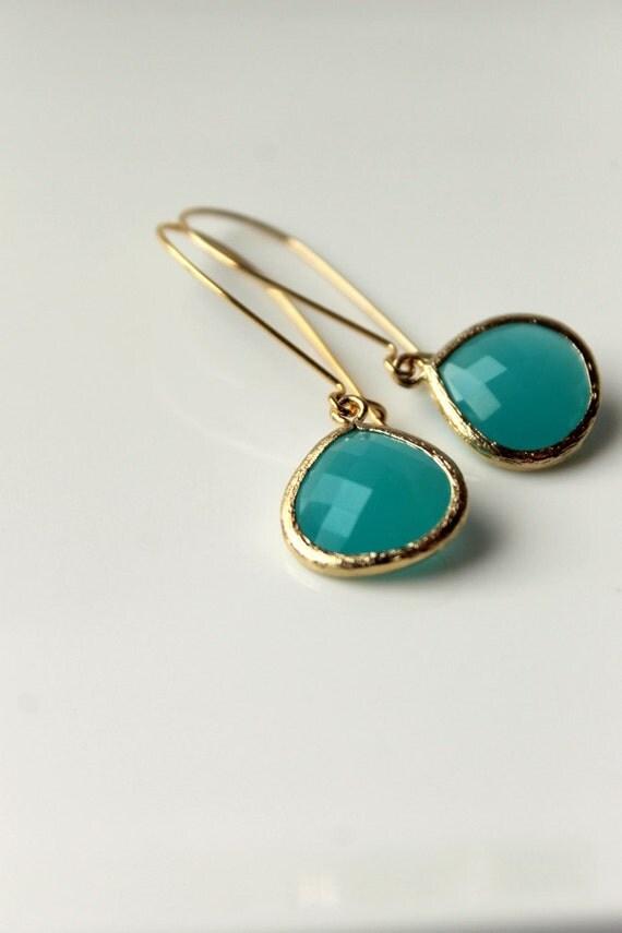 Turquoise Dangle Earrings, Gold, Elegant, Kidney Earwires, Summer
