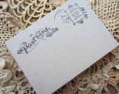 Wedding Escort Card Guest Book Alternative Hand Stamped Post Card Theme