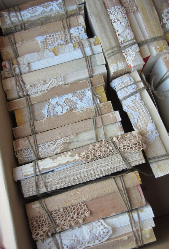 Wedding centerpiece keepsake vintage 3 book stack jute lace for Antique books for decoration