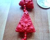 2 Carved Cinnabar Triangle Focal Beads