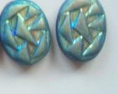 2 Iridescent Oval glass Beads