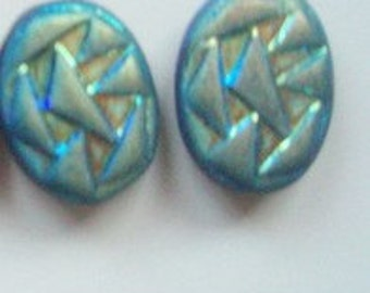 2 Iridescent Oval glass Beads