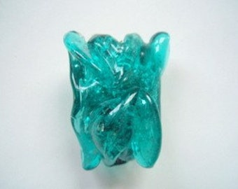 Very Large Turquoise Glass Focal Bead