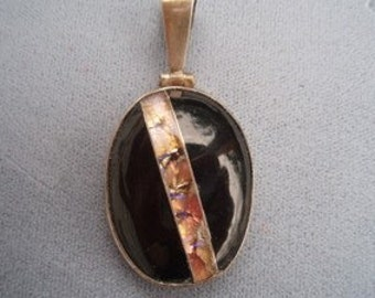 Black Onyx Pendant with Fire Opal stripe backed by solid sterling silver