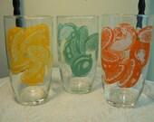 Vintage Drinking Glasses - Lemon, Orange, Lime Design - Set of 6