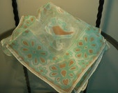 Vintage - Scarf - By Florine - Made in Italy - Mint and Brown Aztec Inspired Print on White - 60s - Never Worn