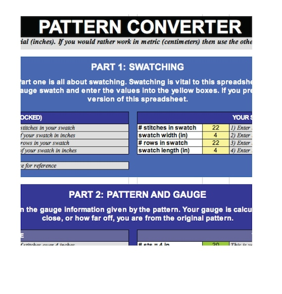 Knitting Pattern Converter : Knitting Pattern Size and Gauge converter