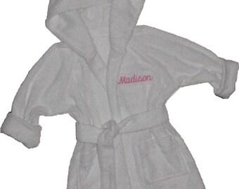 Personalized Handmade  Hooded Toddler Bathrobe