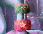 Felt ring decorated with glass beads or small stones