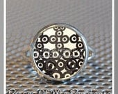 Adjustable Ring RETRO CIRCLES or Choose Your Design - Silver Plated ... handmade Jewelry Art by Pieces Of Me Pendants