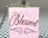Pendant PINK BLESSED with WINGS - Necklace Charm handmade with Scrabble Wood Tile ... Jewelry Art by Pieces Of Me Pendants