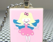 Pendant GIRLY FAIRY - Necklace Charm handmade with Scrabble Wood Tile ... Jewelry Art by Pieces Of Me Pendants