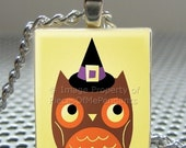 Pendant HALLOWEEN OWL - Necklace Charm handmade with Scrabble Wood Tile ... Jewelry Art by Pieces Of Me Pendants