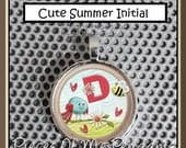 Pendant CUTE SUMMER INITIAL - Your initial choice - Round Metal 1 inch Necklace Charm ... handmade Jewelry Art by Pieces Of Me Pendants