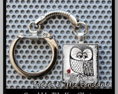 Keychain SKETCH OWL - Scrabble tile Key Chain or Choose Any Design from my Shop ... handmade by Pieces Of Me Pendants