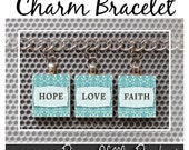 Charm Bracelet - Customize three (3) Scrabble Tile Charms, your Choice... handmade by Pieces Of Me Pendants