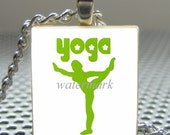 Pendant YOGA - Necklace Charm handmade with Scrabble Wood Tile ... Jewelry Art by Pieces Of Me Pendants