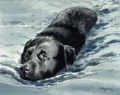 BLACK LAB Dog Art Print Signed by Artist DJ Rogers