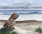 "Cocker Spaniel Art Print ""COCKER SPANIEL At The BEACH"" Signed by Artist D J Rogers"