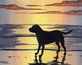 """Labrador Retriever Art Print """"LABRADOR RETRIEVER SUNSET"""" Watercolor Signed by Artist D J Rogers"""