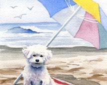 "BICHON FRISE Art Print ""Bichon Frise At The Beach"" Signed by Artist DJ Rogers"