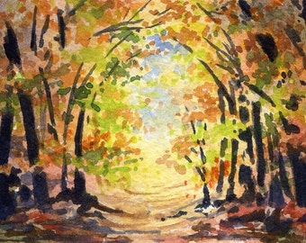SUNLIT PATH  Watercolor Signed Fine Art Print by Artist DJ Rogers