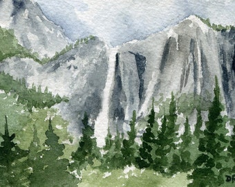 YOSEMITE FALLS Art Print Watercolor Signed by Artist DJ Rogers
