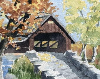 COVERED BRIDGE III Watercolor Signed Fine Art Print by Artist D J Rogers